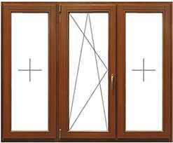 Цена на деревянное окно со стеклопакетом трехстворчатое